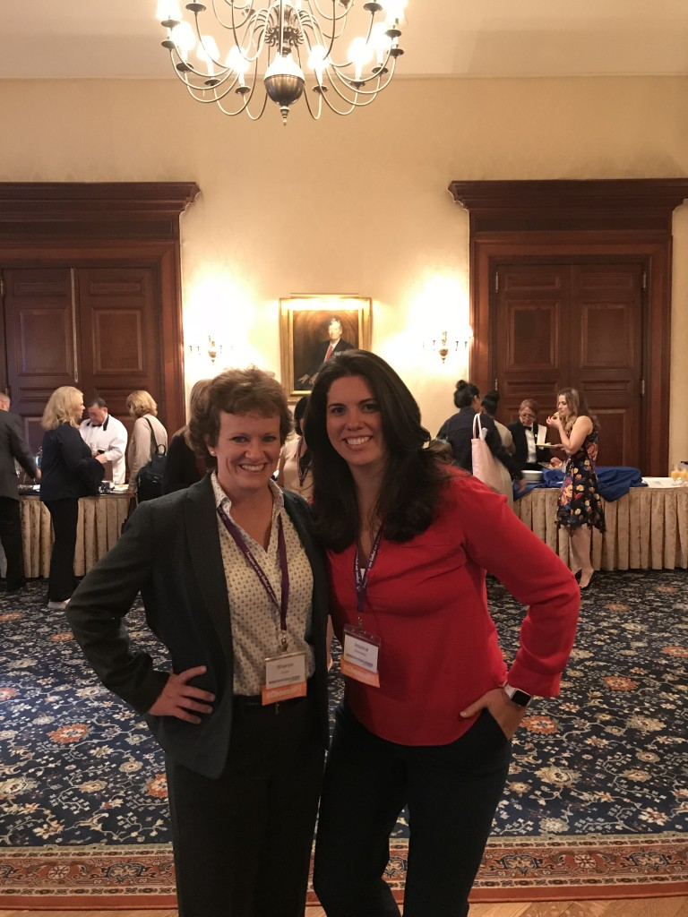 "APTA President Dr. Sharon Dunn and Dr. Jessica Schwartz at the #WomenInPT Summit. This is the combination power pose. ""Not all superheroes wear capes."" #DoGoodWork"
