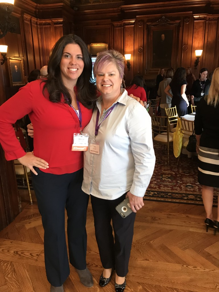 Home Health Section President Dee Kornetti before her inspirational speech and Jessica Schwartz at the #WomenInPT