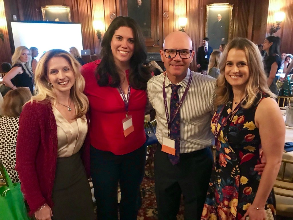 A rare moment when APTA Media Corps Members stand still long enough for a photo to celebrate the #WomenInPT Summit. APTA Media Corps Members Nicole Stout, Jessica Schwartz and Karen Litzy joined by APTA Director of Public and Media Relations, Emilio Rouco.